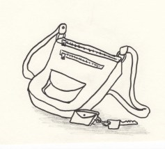Drawing of a purse and keys
