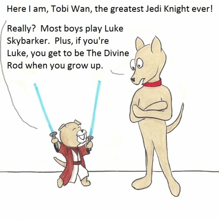 Here I am, Tobi Wan, the greatest Jedi knight ever! Really? Most boys play Luke Skybarker. Plus, if you're Luke, you get to be The Divine Rod when you grow up.