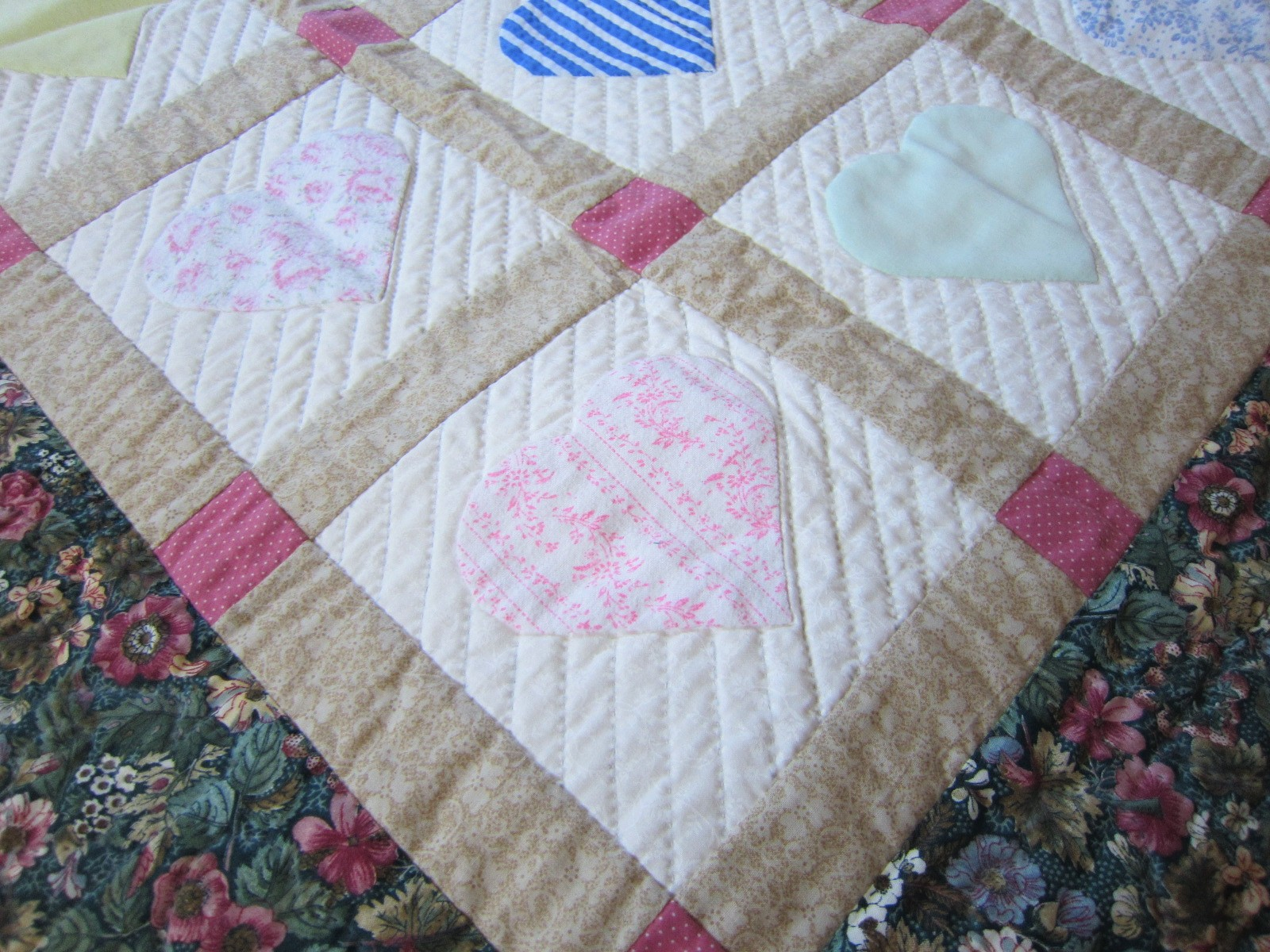 close up of memory quilt