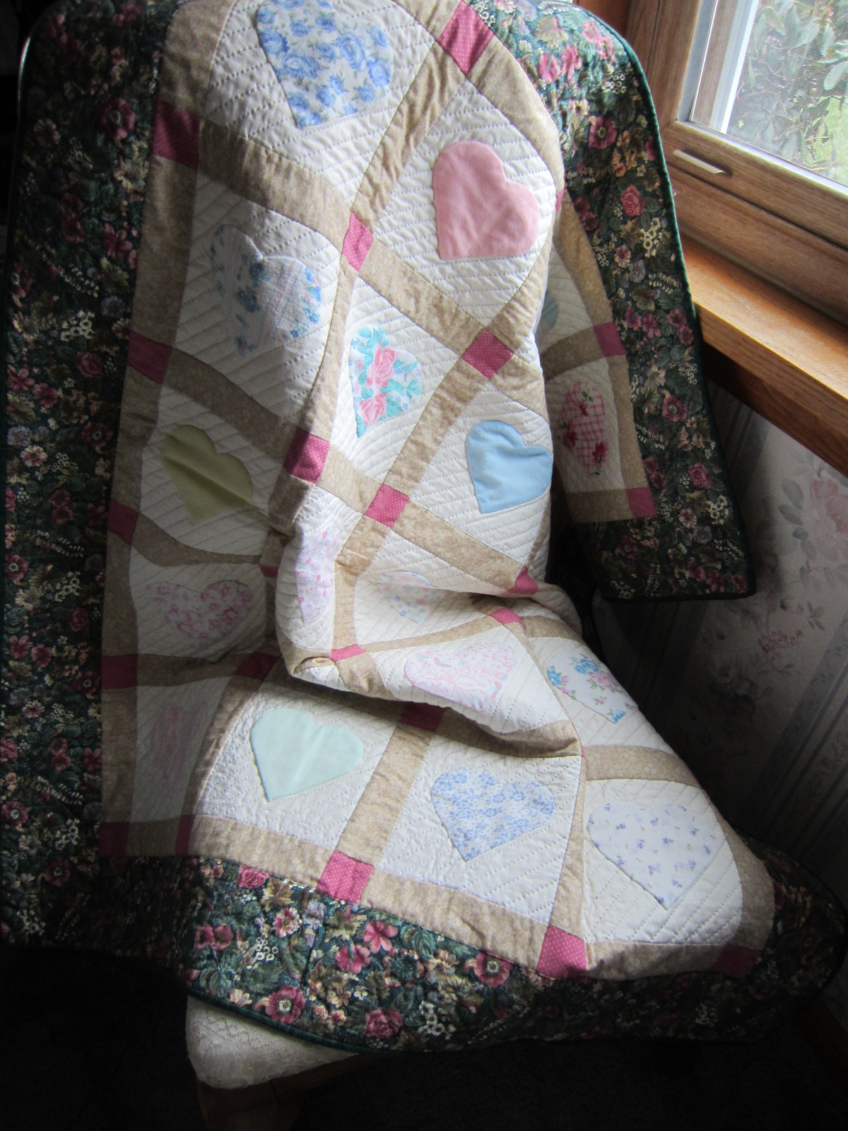 Memory quilt near window