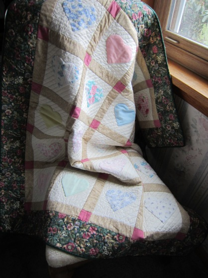 Memory quilt near window