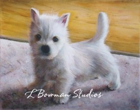 Oil painting of Westie puppy.