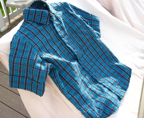 Boy's Blue Plaid Madras Short Sleeved Shirt