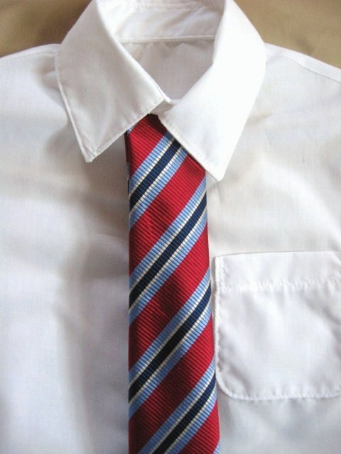 Boy's Long Sleeved Shirt shown with optional Red Silk Tie