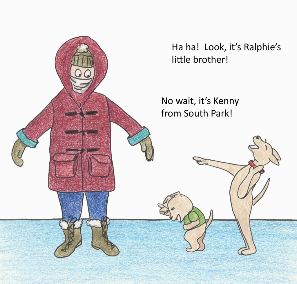 Ha ha! Look, it's Ralphie's little brother! No wait, it's Kenny from South Park!